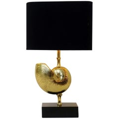 """Maison Charles"" Brass Nautilus Shell Table Lamp"