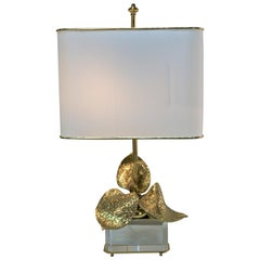 Maison Charles Bronze 1970s Table Lamp with Lucite Base