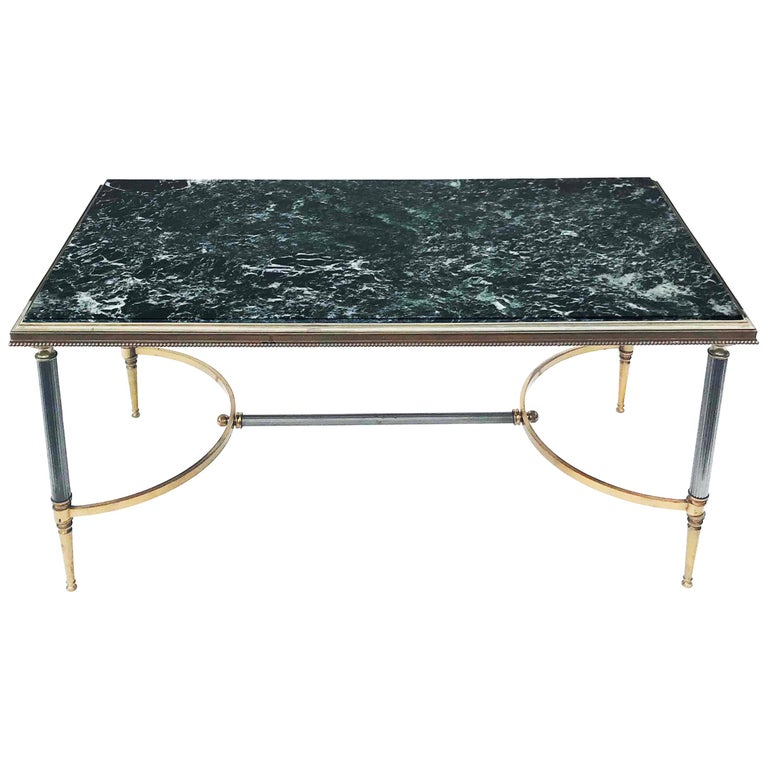 Maison Charles Bronze and Marble Coffee Table For Sale