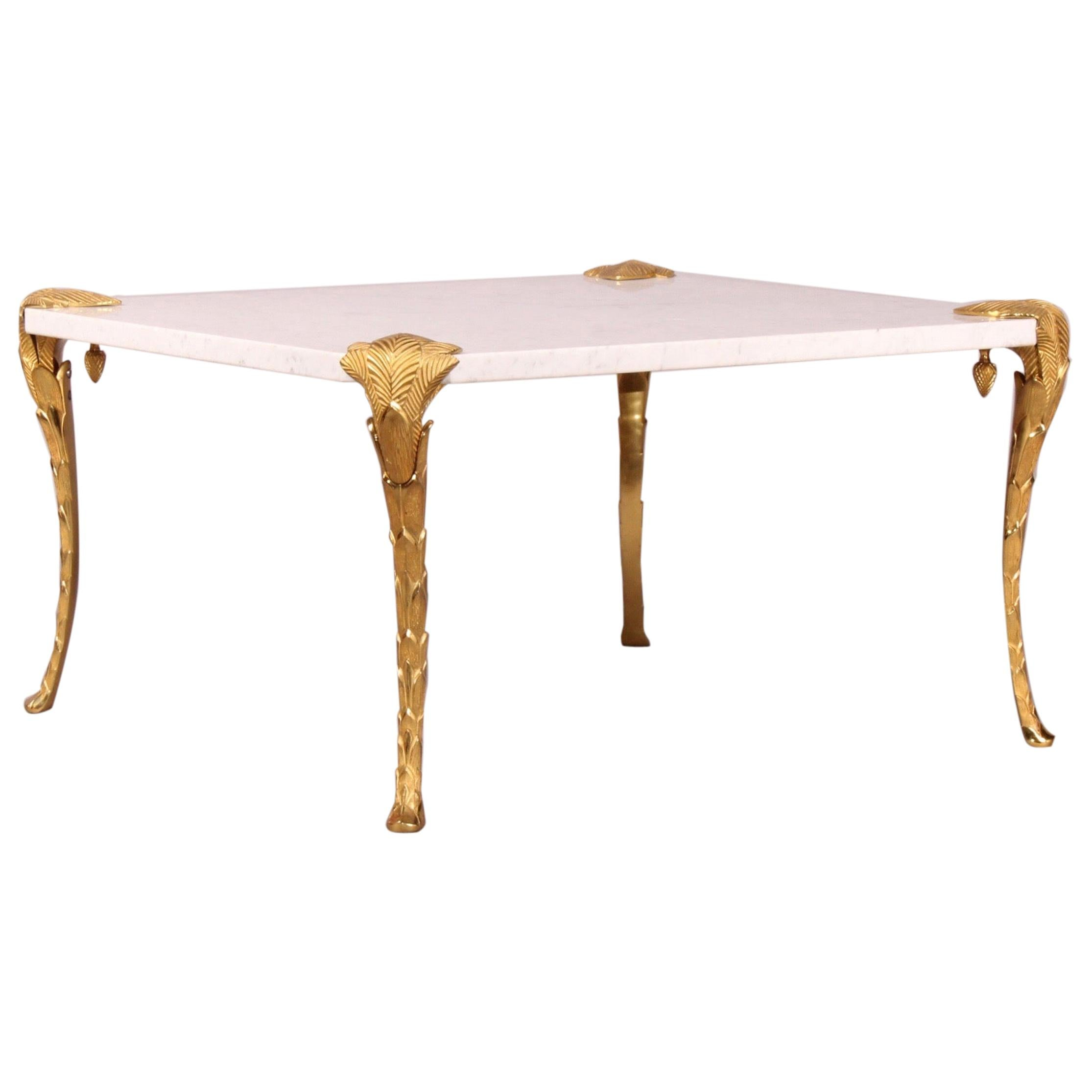 Maison Charles Bronze and Marble Coffee Table