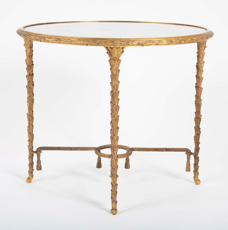 Maison Charles Bronze Mirrored Top Side Table For Sale 6