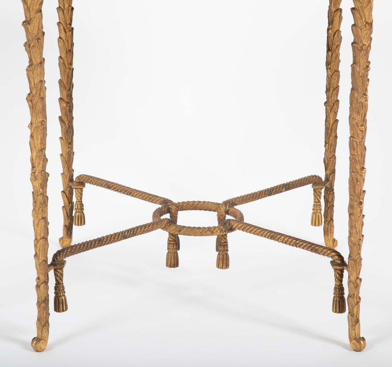 French Maison Charles Bronze Mirrored Top Side Table For Sale