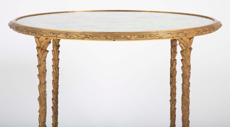 Maison Charles Bronze Mirrored Top Side Table In Good Condition For Sale In Stamford, CT