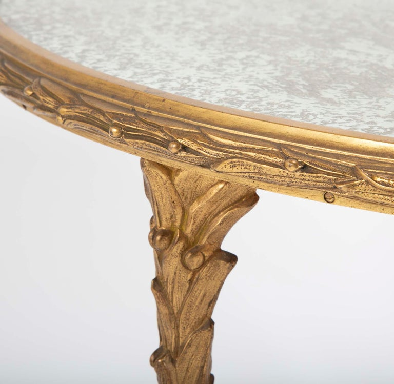 Maison Charles Bronze Mirrored Top Side Table For Sale 2