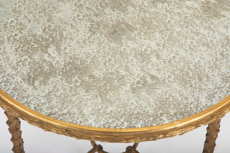 Maison Charles Bronze Mirrored Top Side Table For Sale 3