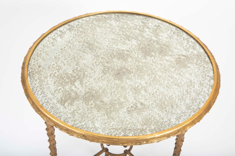 Maison Charles Bronze Mirrored Top Side Table For Sale 4