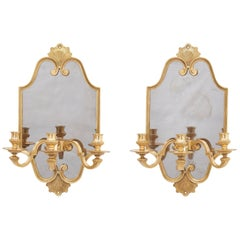 Maison Charles Bronze Mount Mirror Back Wall Sconces, French, circa 1950