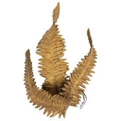 Maison Charles, Ferns Wall Sconce in Gilt Bronze, 1970s