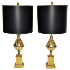 Maison Charles French Art Deco Lotus Bronze Table Lamp Black & Gold Shade, Pair