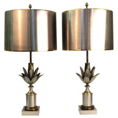 Maison Charles French Modern Artichaut Table Lamps in Bronze
