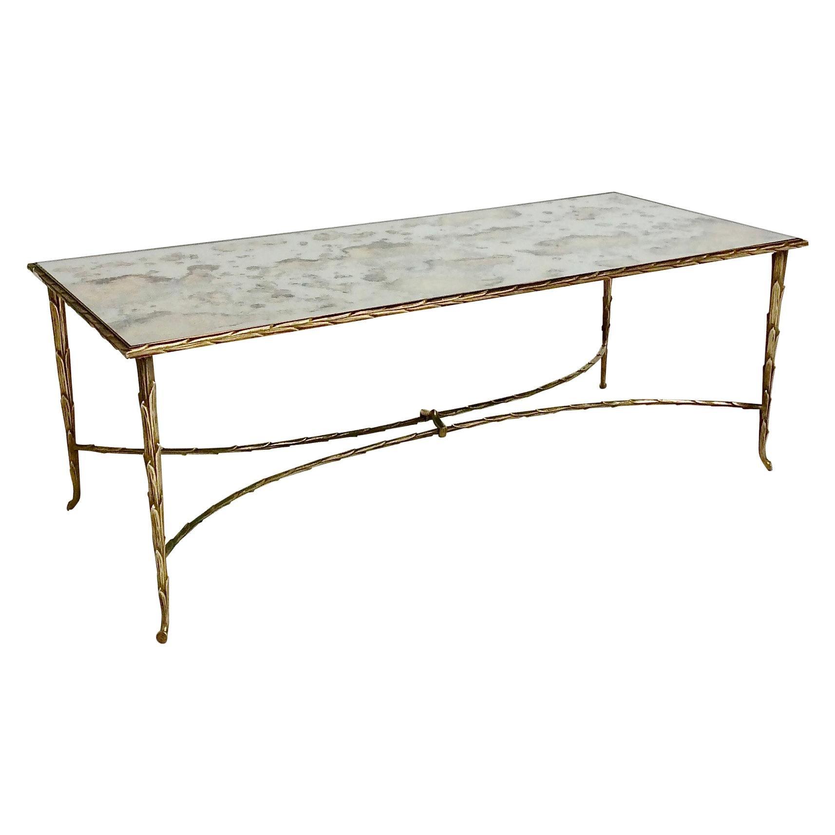 Maison Charles Gilt Bronze Coffee Table, circa 1950, France