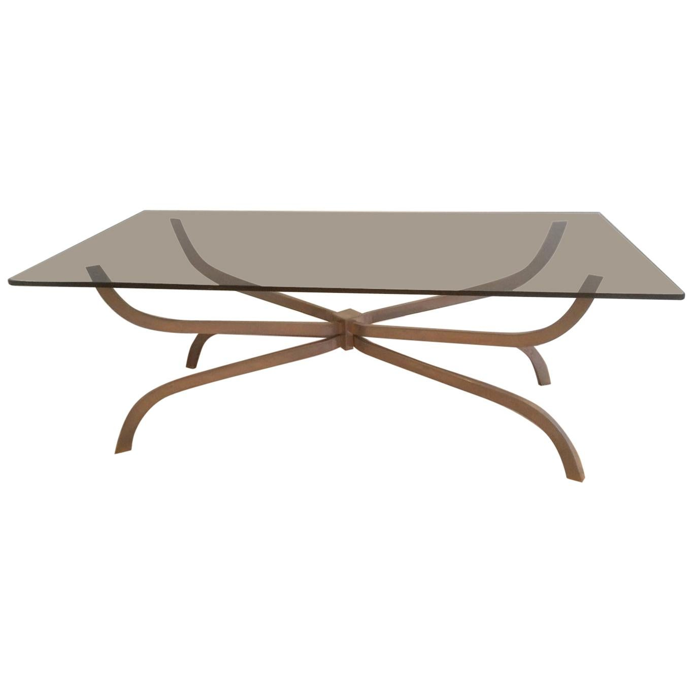 Maison Charles, Interesting Brushed Steel Coffee Table with Smoked Glass Top