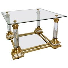 Maison Charles Lucite & Glass Coffee Table, 1950s