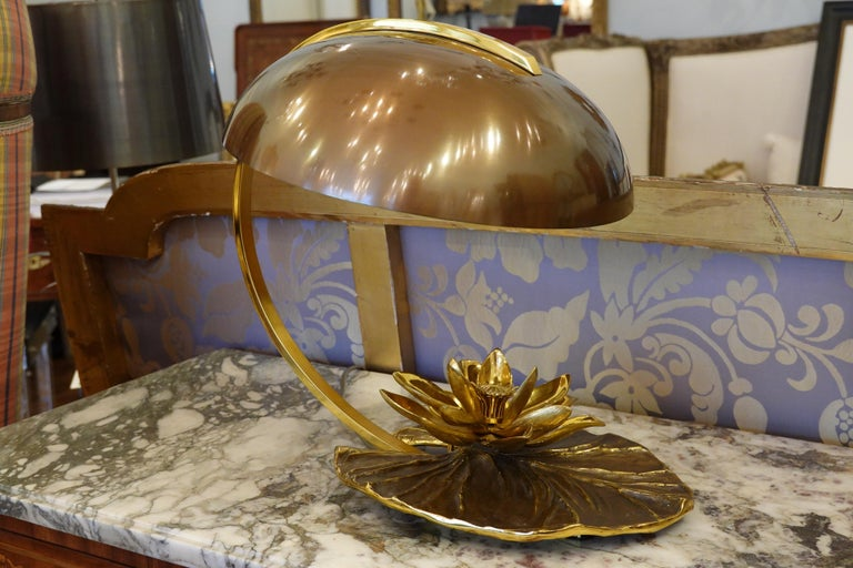Stunning gilt-bronze desk lamp in the form of a water lily or