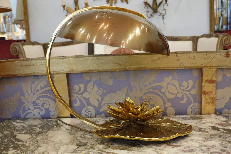 Mid-Century Modern Maison Charles Nenuphar or Water Lily Desk Lamp For Sale
