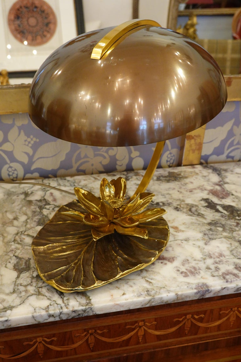 French Maison Charles Nenuphar or Water Lily Desk Lamp For Sale