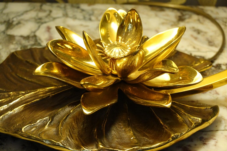 Bronze Maison Charles Nenuphar or Water Lily Desk Lamp For Sale