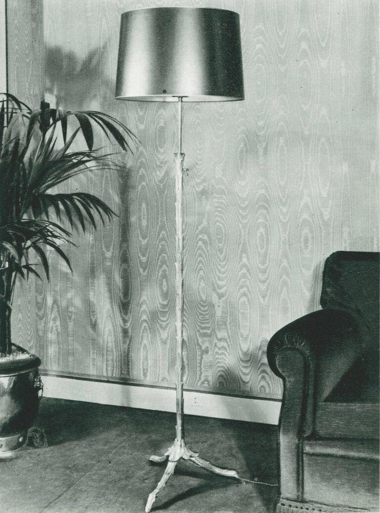 Maison Charles, Pair of Adjustable Bronze Floor Lamps, France, circa 1940s In Good Condition For Sale In New York, NY