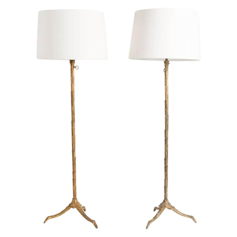 Maison Charles, Pair of Adjustable Bronze Floor Lamps, France, circa 1940s For Sale