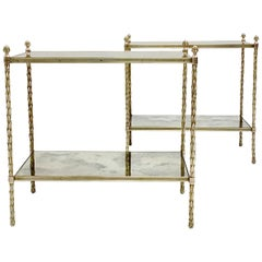 Maison Charles Pair of Bronze Side Tables, circa 1960, France