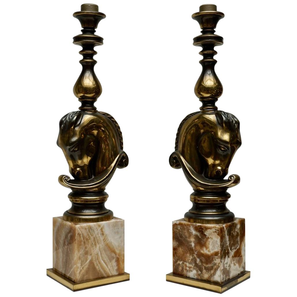 Maison Charles, Pair of Large Bronze Lamps