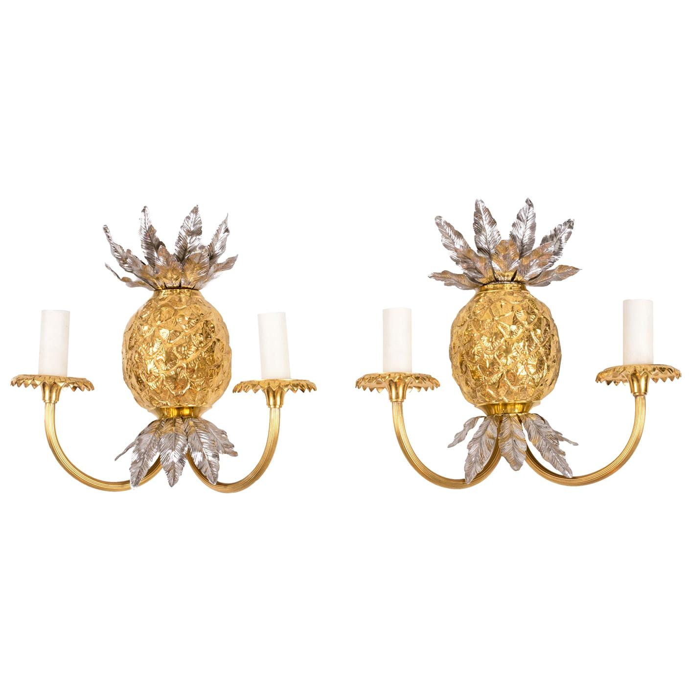 Maison Charles, Pair of Pineapple Wall Sconces in Gilt Bronze, 1970s