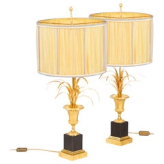 Maison Charles, Pair of Reeds Lamps in Gilt Bronze, 1970s