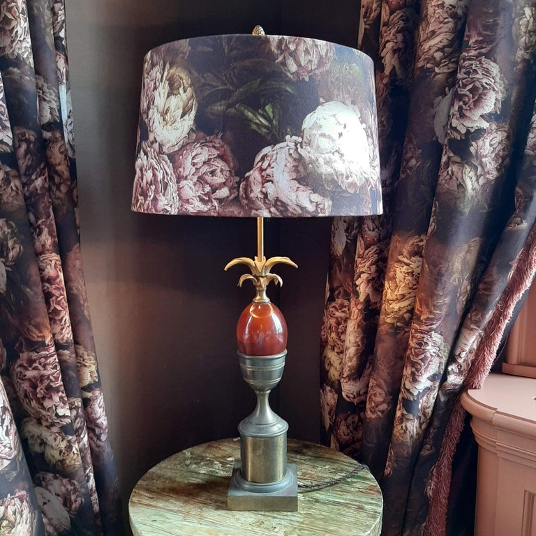 Maison Charles Palm or Pineapple Table Lamp in Copper and Colored Glass, 1960s For Sale 1