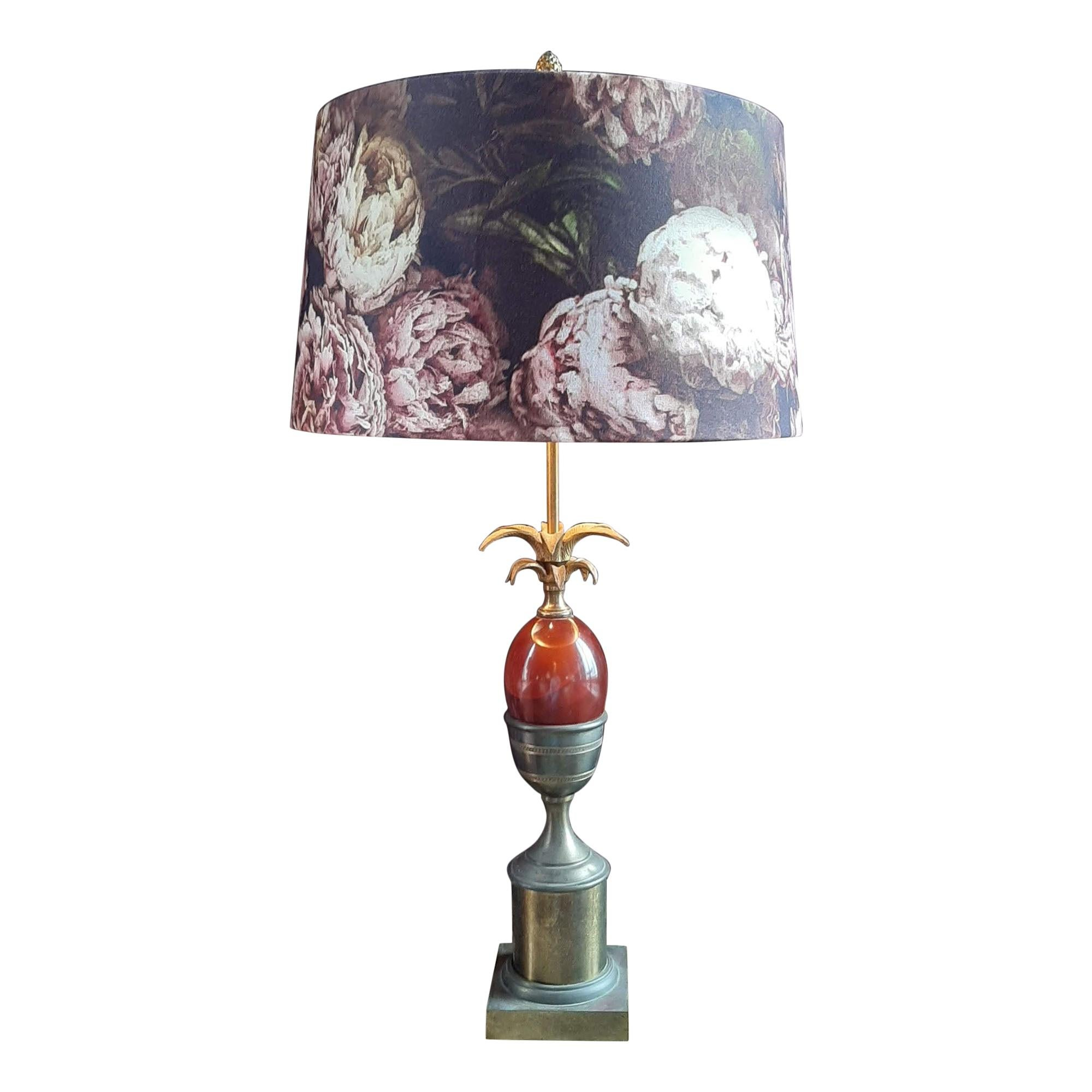 Maison Charles Palm or Pineapple Table Lamp in Copper and Colored Glass, 1960s