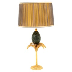 Maison Charles, Palm Tree Lamp with a Marble Egg, 1970s