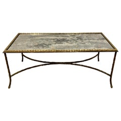 Maison Charles Paris Coffee Table with Oxidized Mirror Top, 1960s