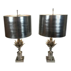 Maison Charles Pineapple Leaf Brushed Steel Table Lamps