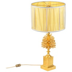 Maison Charles, Pinecone Lamp in Gilt Bronze, 1970s