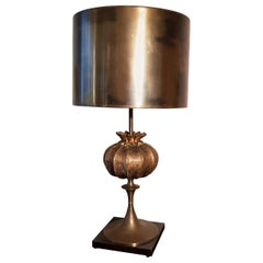 Maison Charles Pomegranate Bronze Shade Bronze Table Lamp, France, 1960s