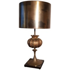 Maison Charles Pomegranate Bronze Table Lamp, France, 1960s