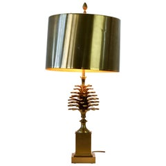 Maison Charles Signed Pine Cone Brass Table Lamp with Original Metal Shades