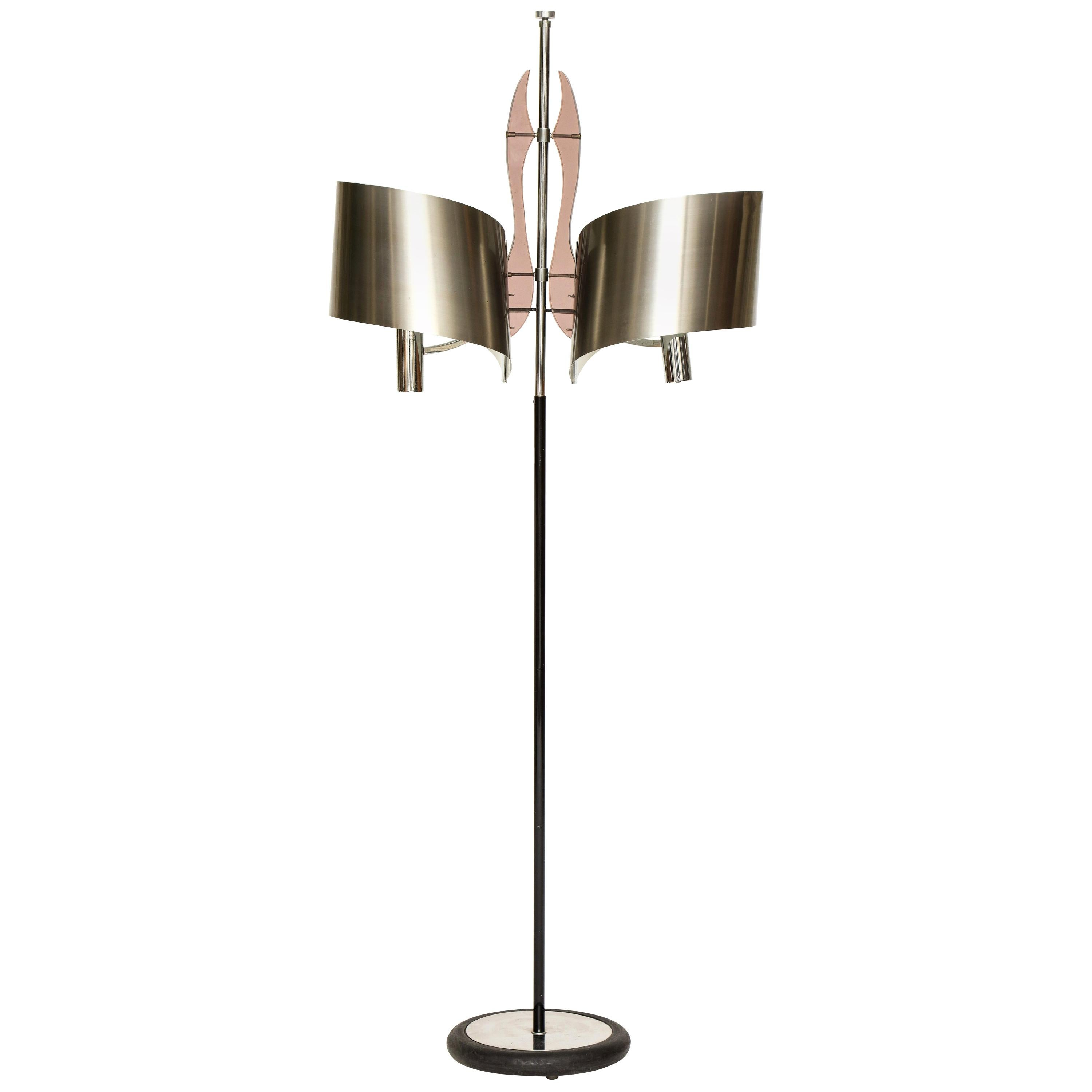Maison Charles Standing Floor Lamp with Stainless Steele Shade, 1970s, France