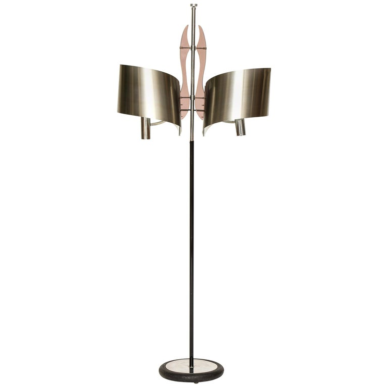 Maison Charles Standing Floor Lamp with Stainless Steele Shade, 1970s, France For Sale