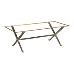 Maison Charles Style 20th Century Steel and Brass Coffee Table Base