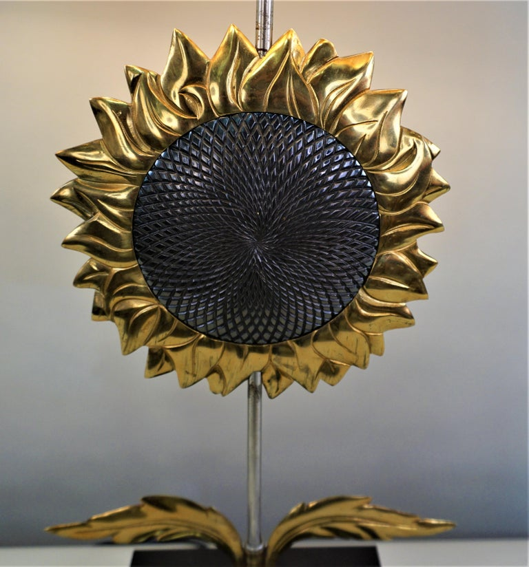 Late 20th Century Maison Charles, Sunflower Table Lamp For Sale