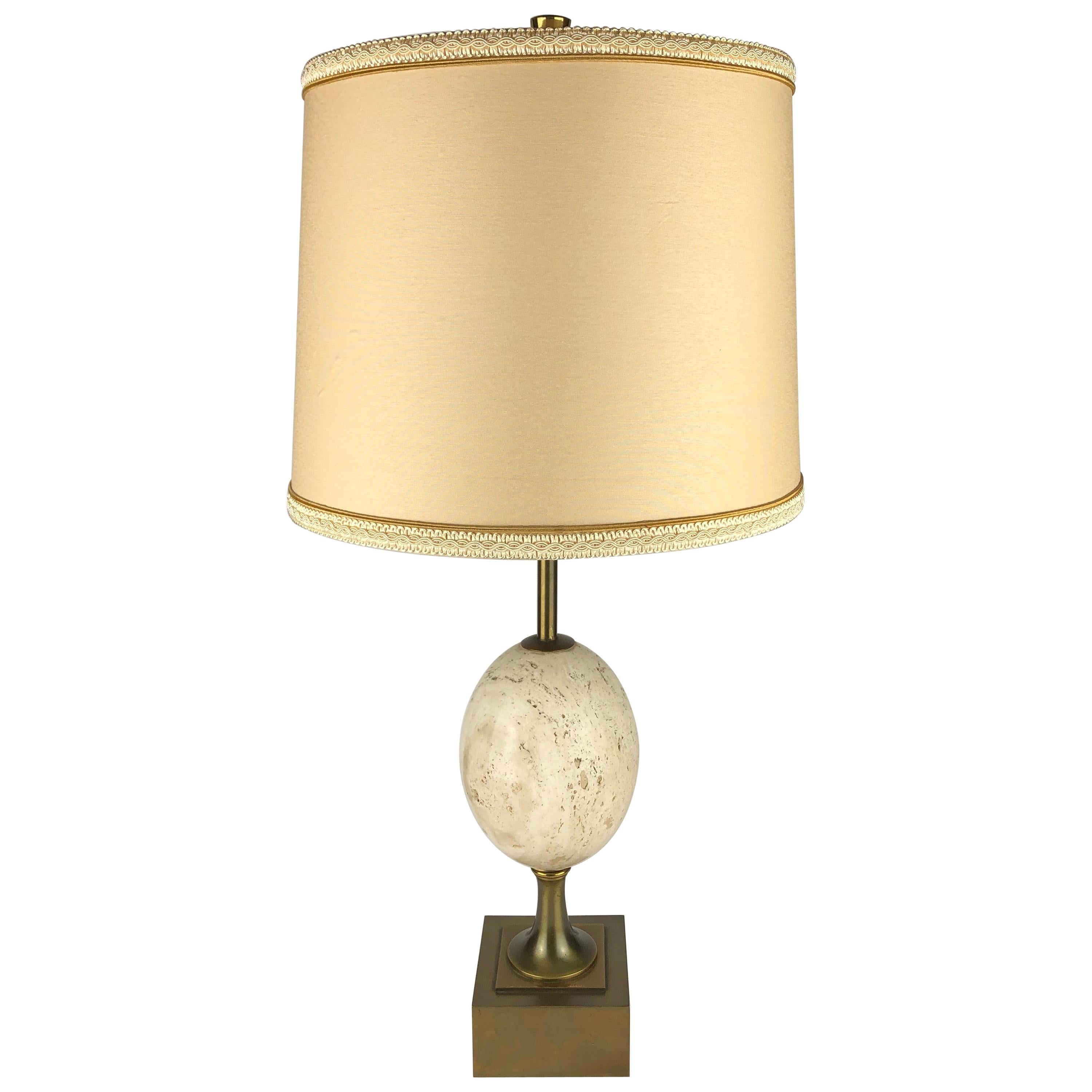 Signed Maison Charles Travertine Table Lamp with Brass Mounts