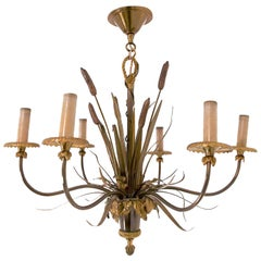 Maison Charles, Two Patinas Bronze 'Reeds' Chandelier, circa 1970