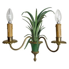 Maison Charles Verde Foliage Wall Sconce, 1970'S