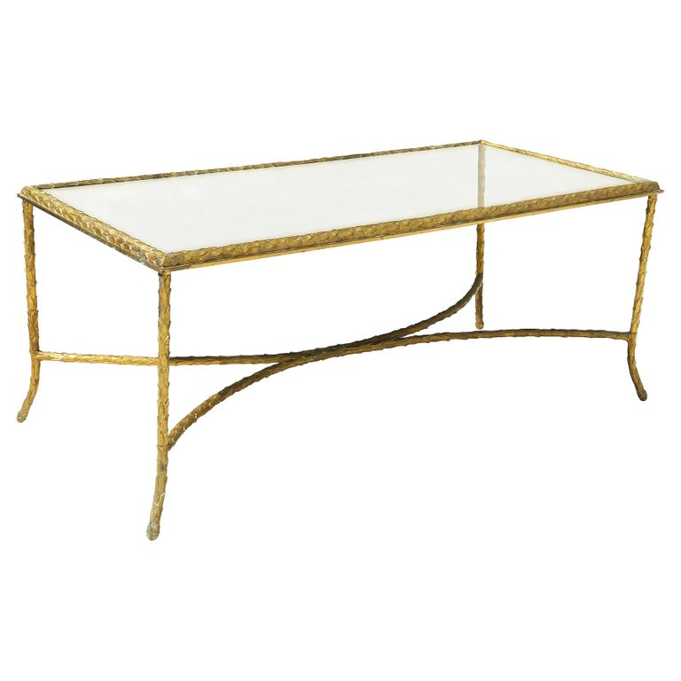 Maison Charles, Very Elegant Bronze Coffee Table, 1950 For Sale