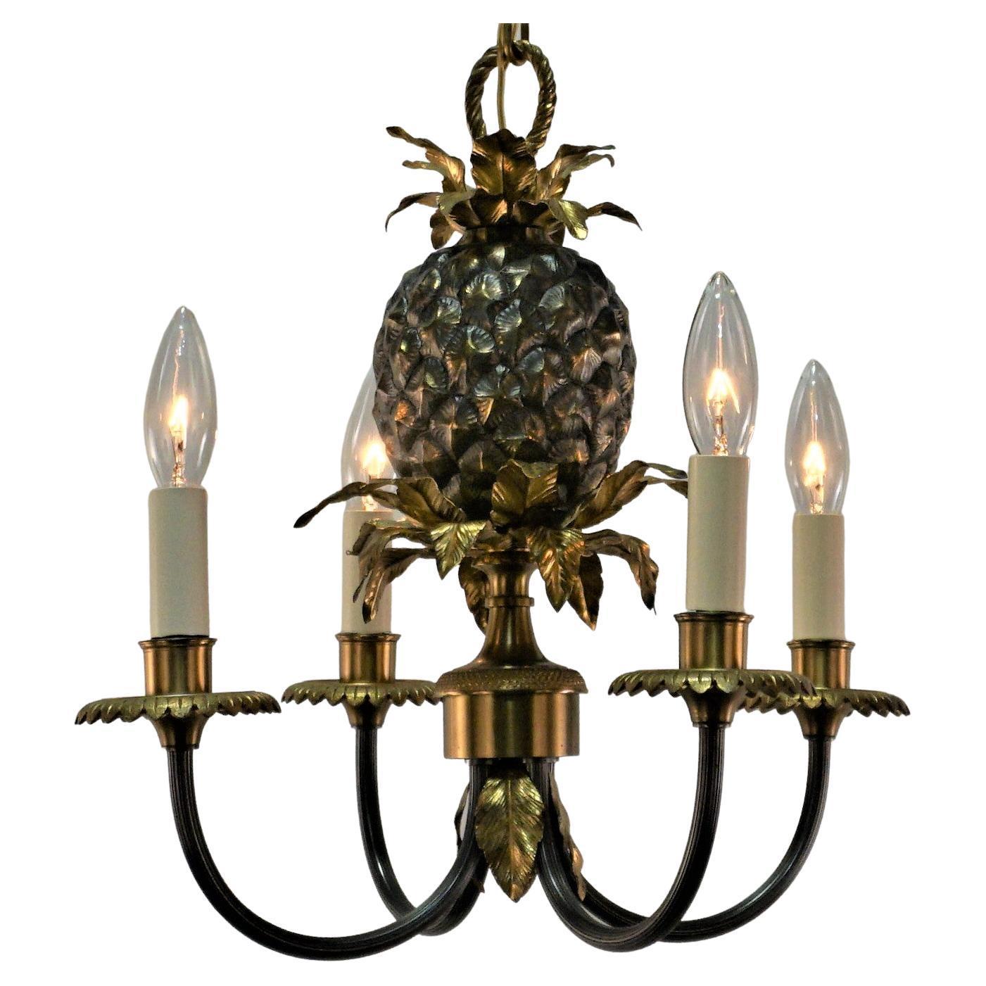 Maison Charles's Pineapple Bronze Chandelier