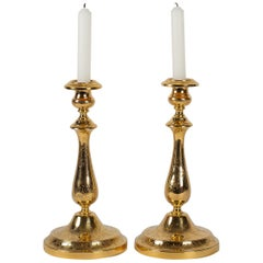 Maison Christofle, 19th-Century Pair of Silvered and Gilted Metal Candlesticks