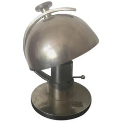 Maison Desny Art Deco Modernist Nickeled Metal Table Lamp, French, 1930s