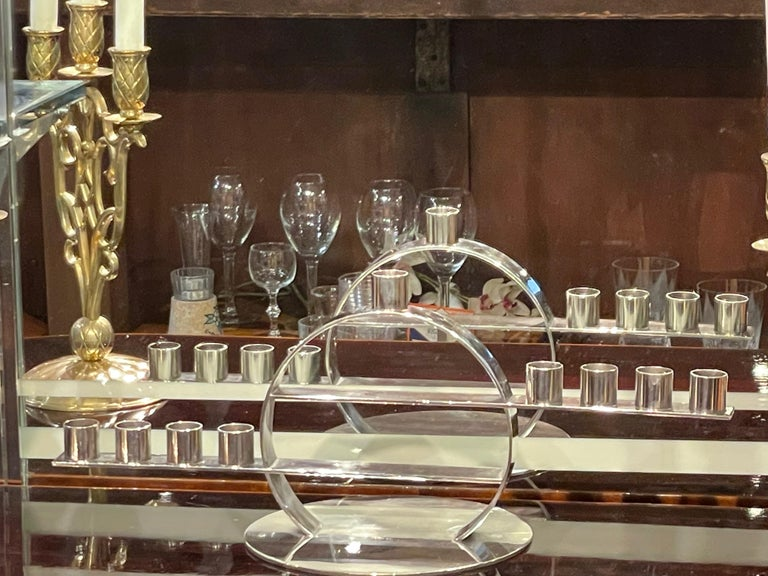 Maison Desny Rare Silver Modernist Menorah French Art Deco For Sale 5