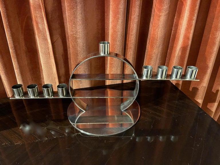 Maison Desny Rare Silver Modernist Menorah French Art Deco For Sale 1