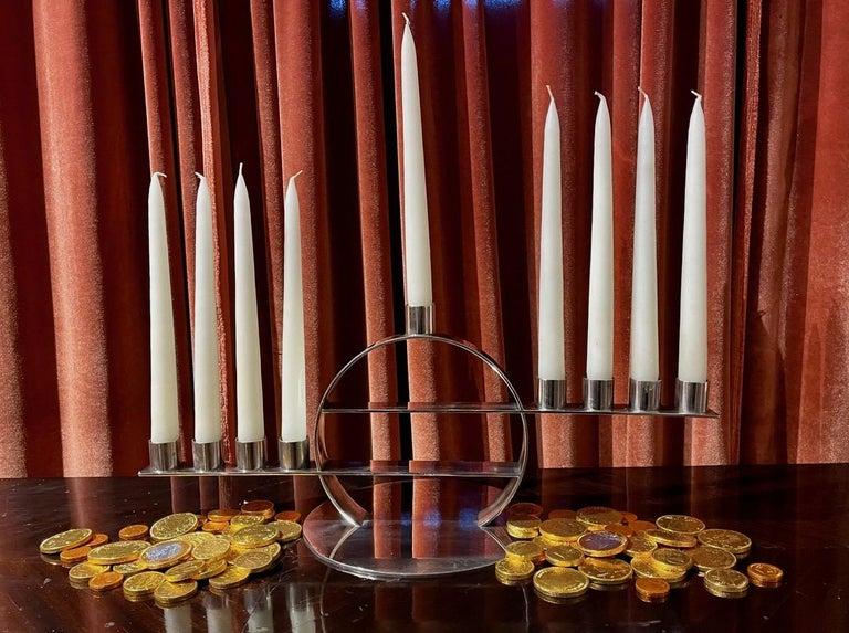 Maison Desny Rare Silver Modernist Menorah French Art Deco For Sale 2